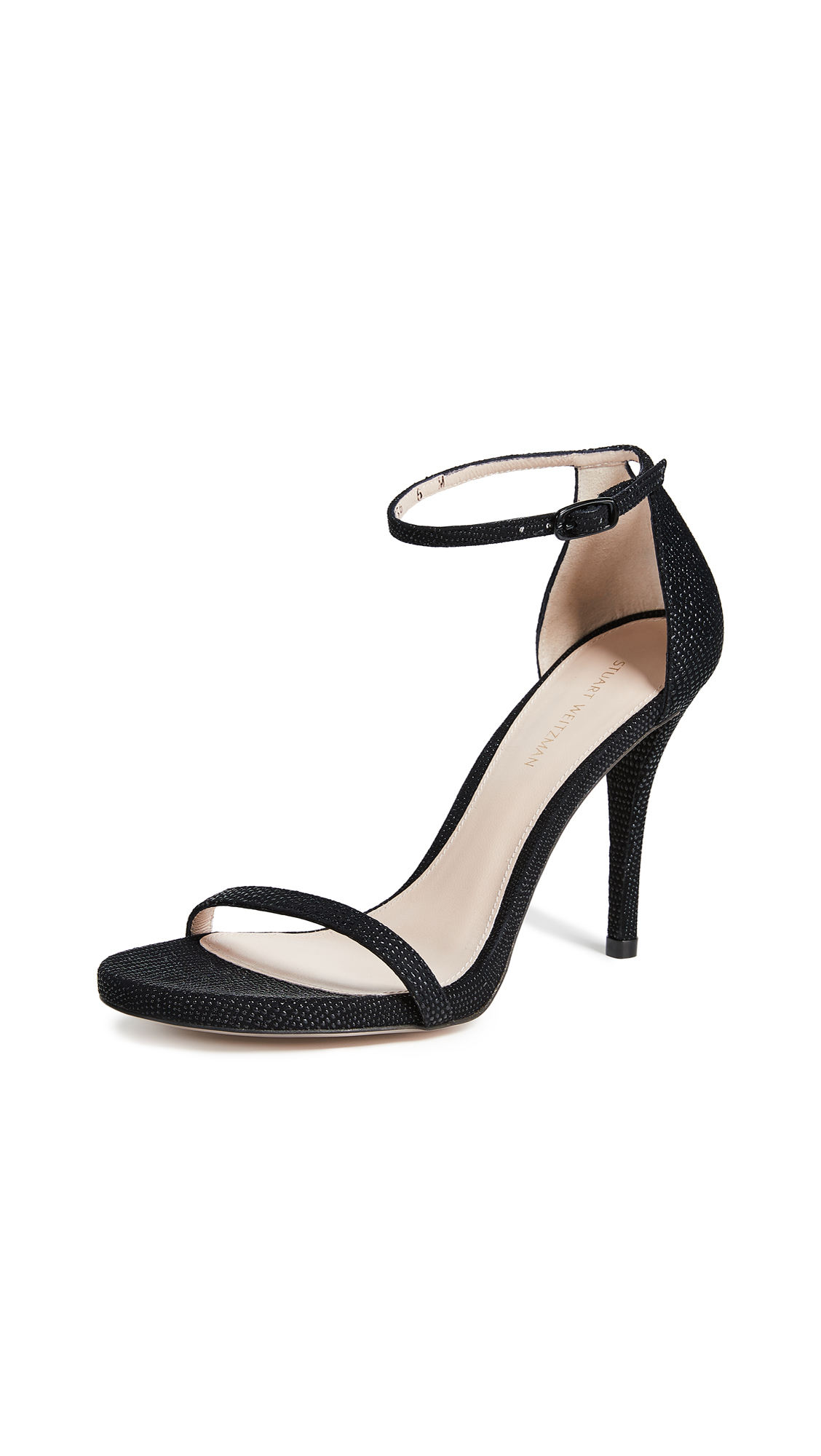 Stuart Weitzman Nudist Curved Heel Sandals - Black