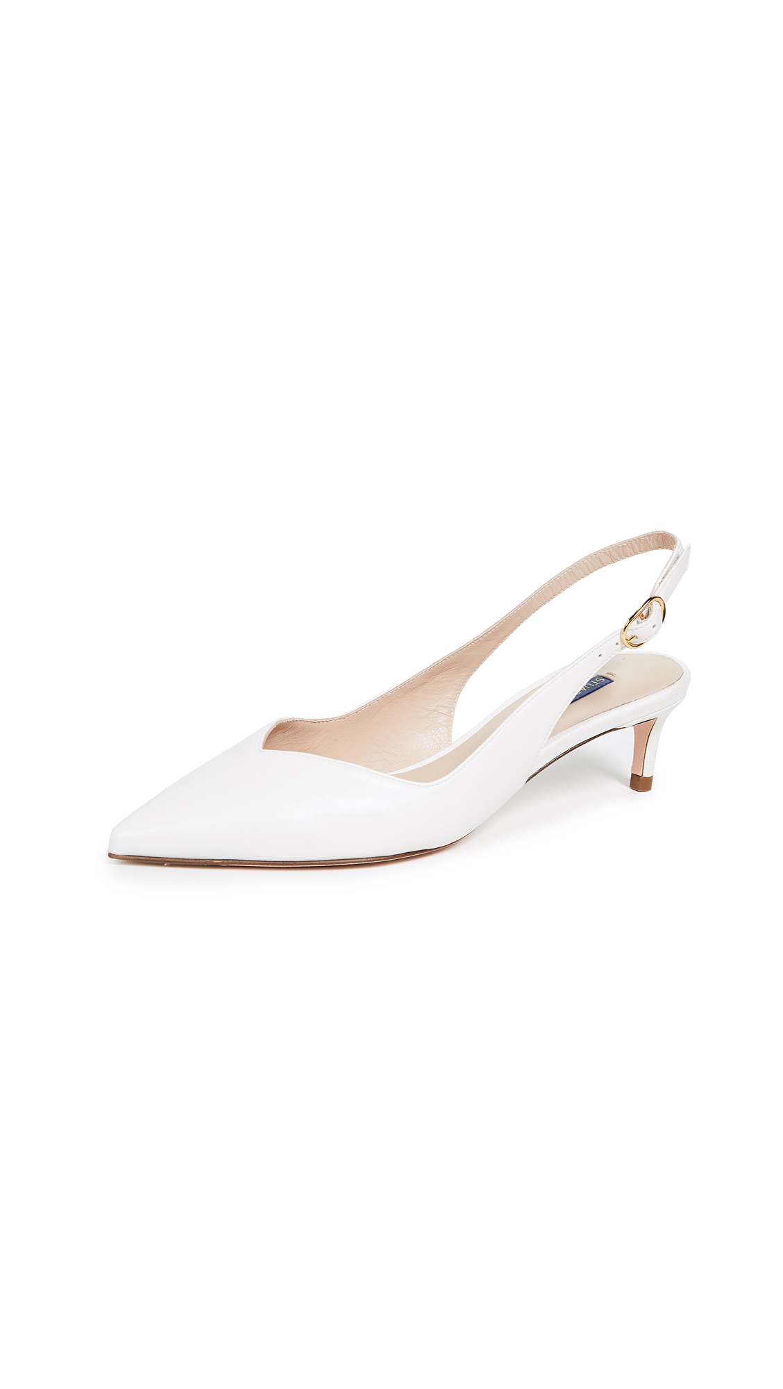 Stuart Weitzman Edith Slingback Pumps - Cream
