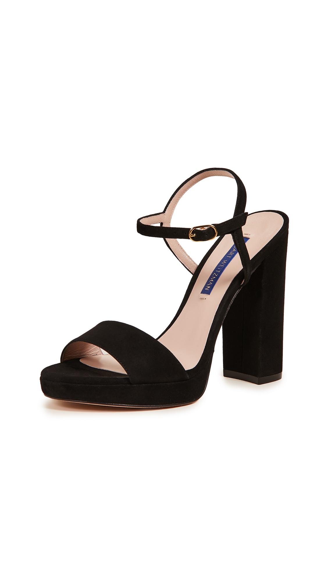Stuart Weitzman Sunray Platform Sandals - Black