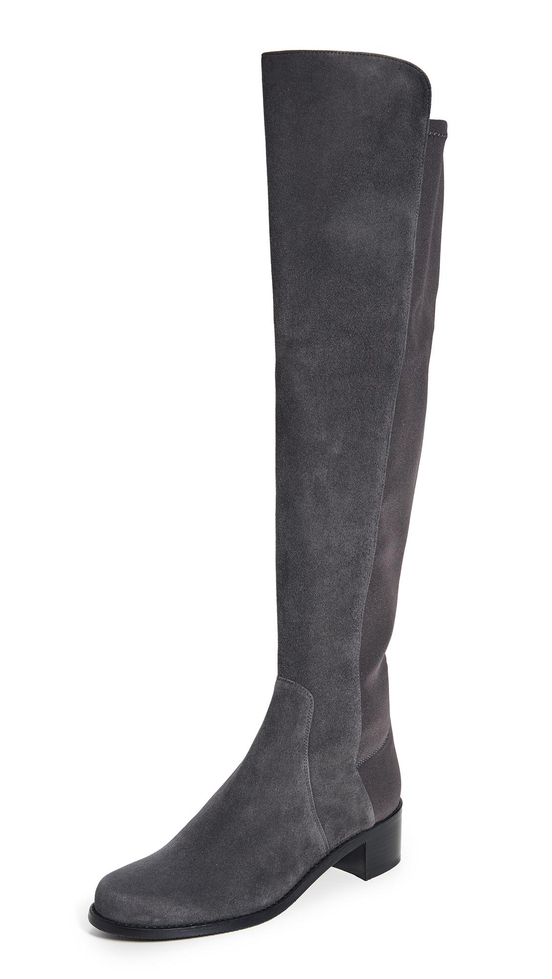 Stuart Weitzman Reserve Stretch Suede Boots - Slate