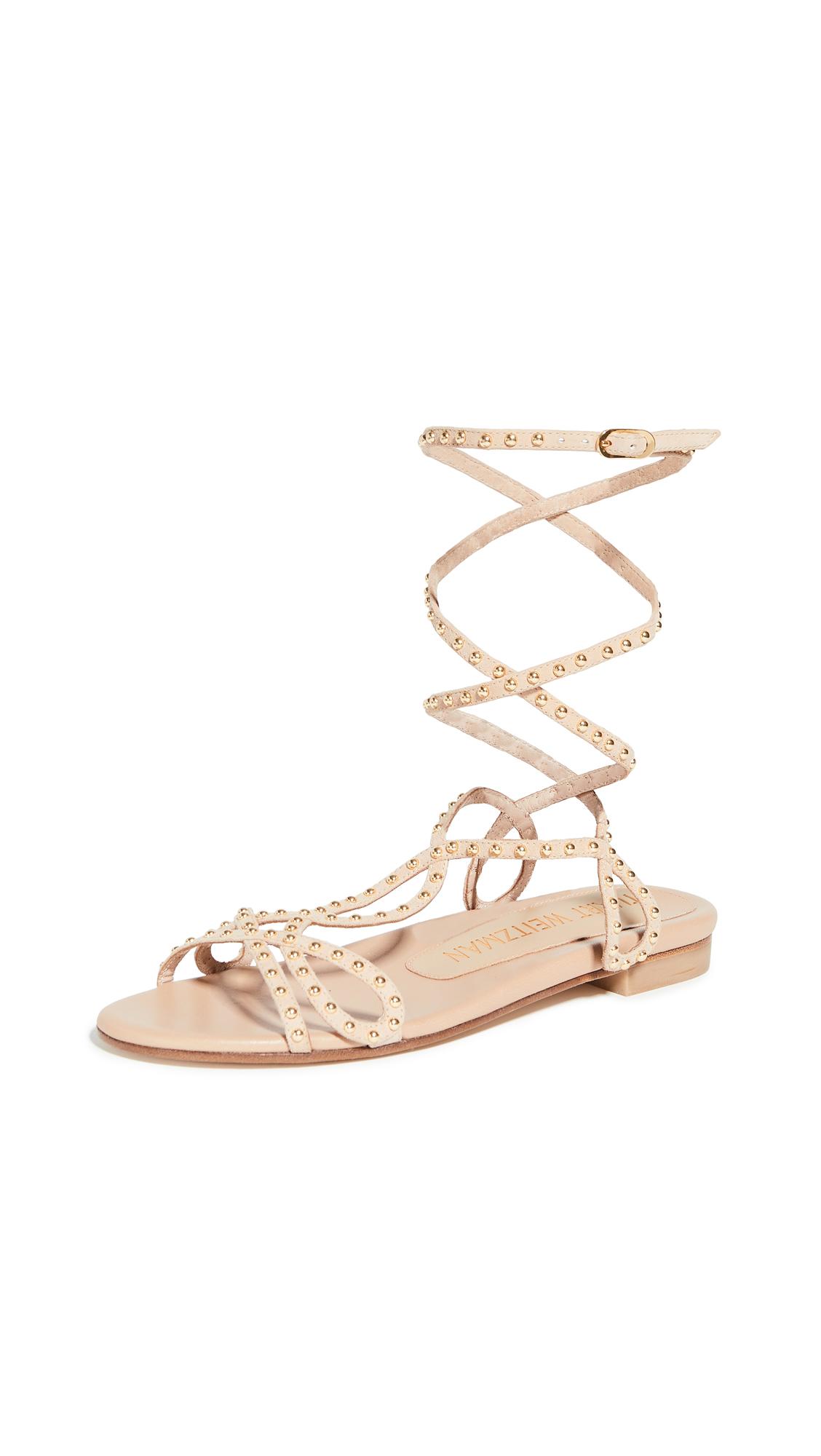 Stuart Weitzman Leya Bead Flat Sandals - Adobe/Gold