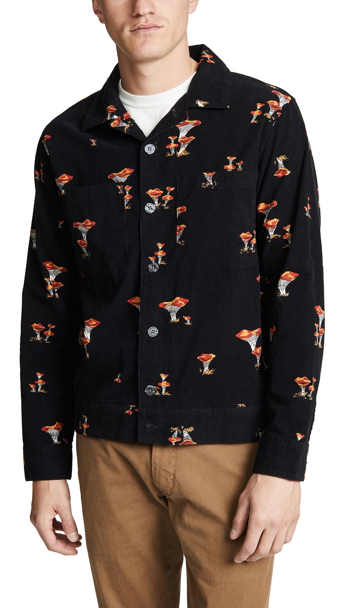 STUSSY Regular-Fit Mushroom-Print Corduroy Shirt in Black