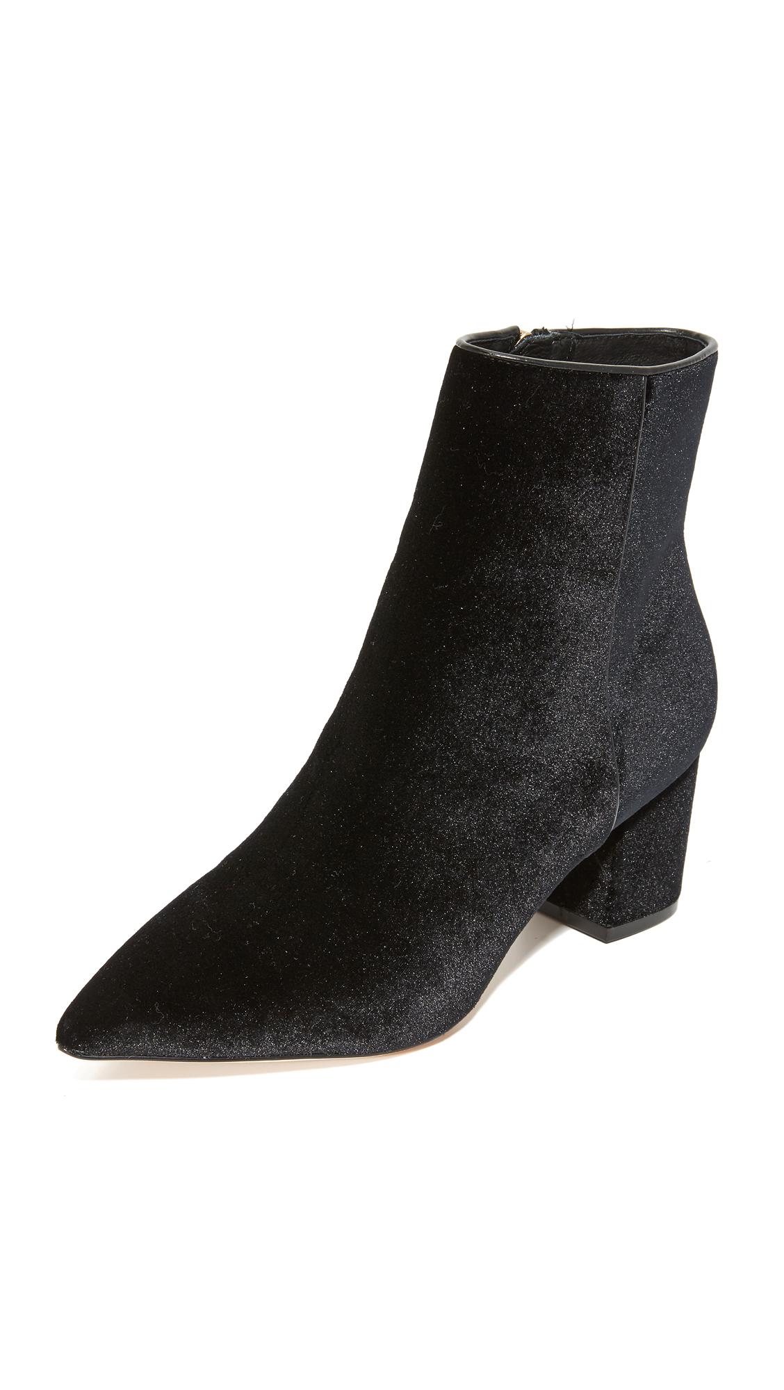 Plush velvet Steven booties in a pointed toe profile. Exposed zip at the side. Covered heel and leather sole. Fabric: Velvet. Imported, China. This item cannot be gift boxed. Measurements Heel: 2.25in / 55mm. Available sizes: 6,7,7.5,8,8.5,9,10