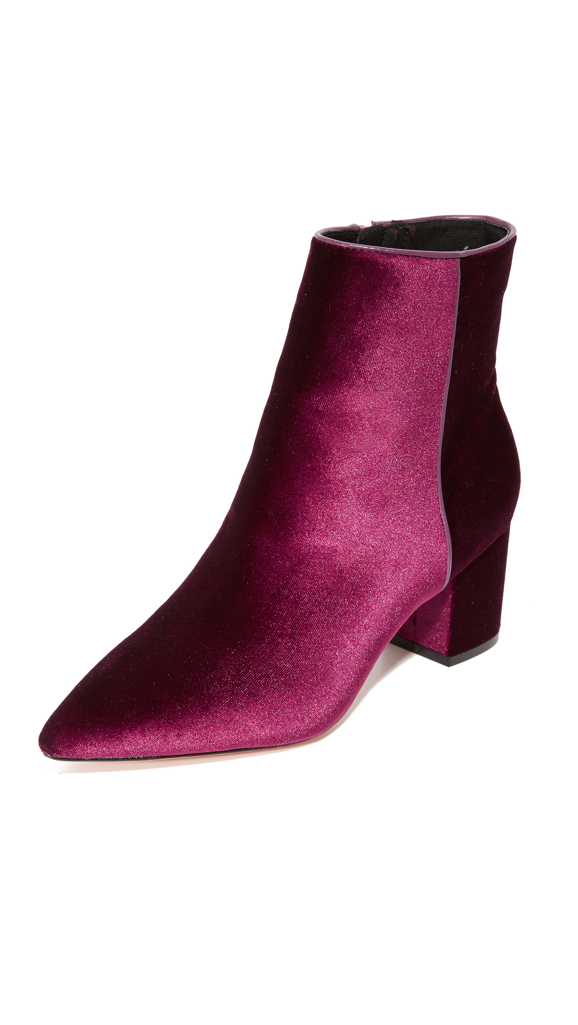 Plush velvet Steven booties in a pointed toe profile. Exposed zip at the side. Covered heel and leather sole. Fabric: Velvet. Imported, China. This item cannot be gift boxed. Measurements Heel: 2.25in / 55mm. Available sizes: 7.5,8