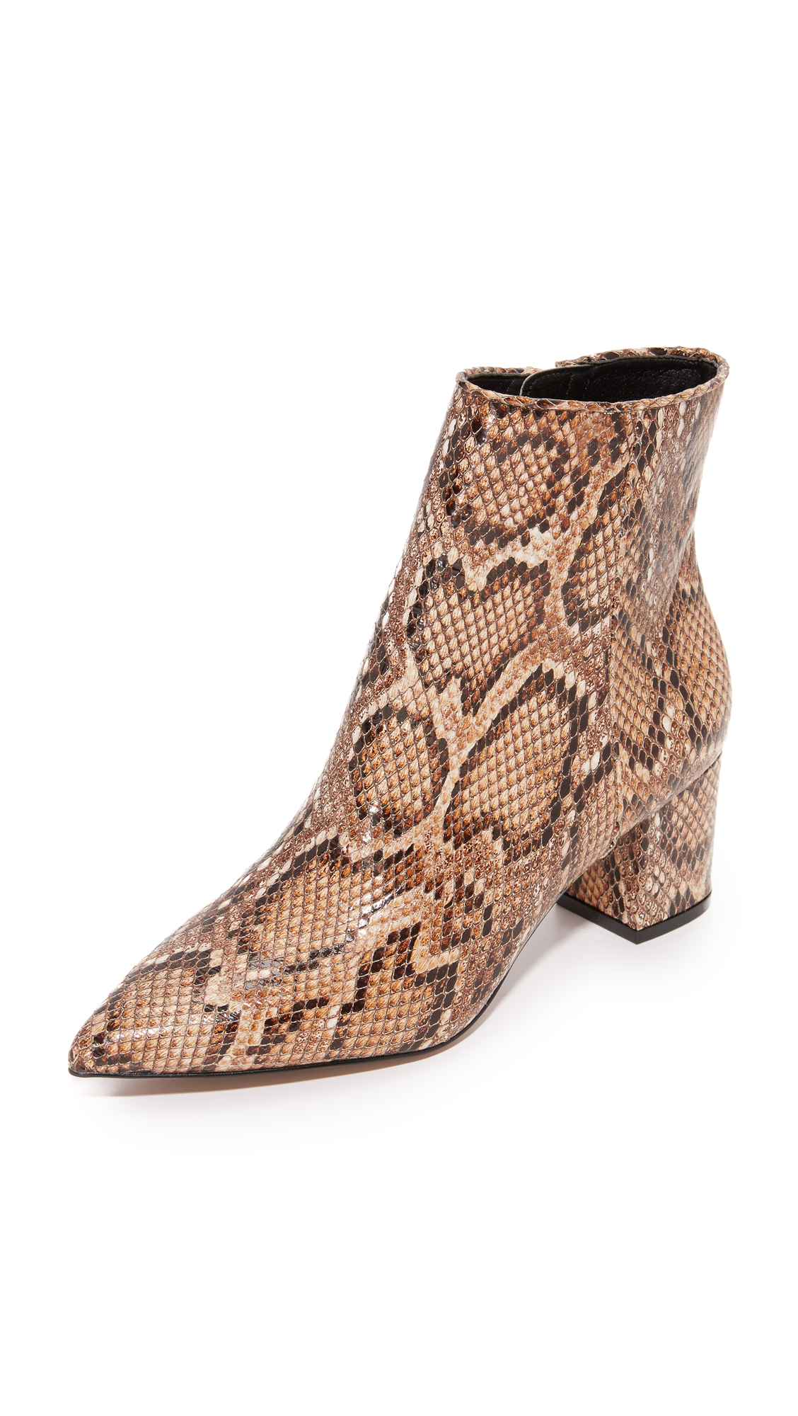 Snake embossed leather adds sophistication to these pointed toe Steven booties. Exposed side zip. Covered heel. Synthetic sole. Leather: Pigskin. Imported, China. This item cannot be gift boxed. Measurements Heel: 2.25in / 55mm. Available sizes: 6.5,7,7.5,8,8.5,9,9.5,10