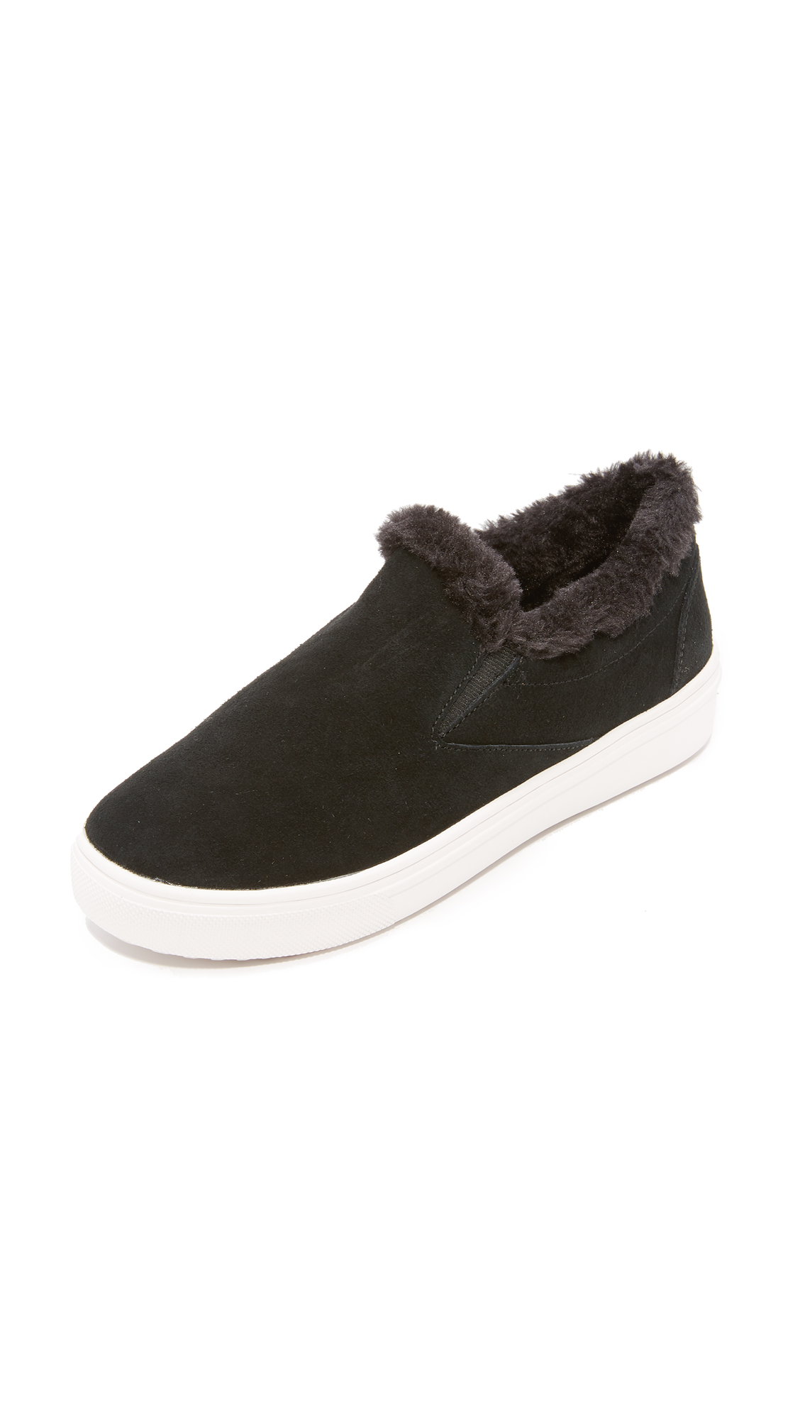 Steven Cuddles Faux Fur Sneakers - Black