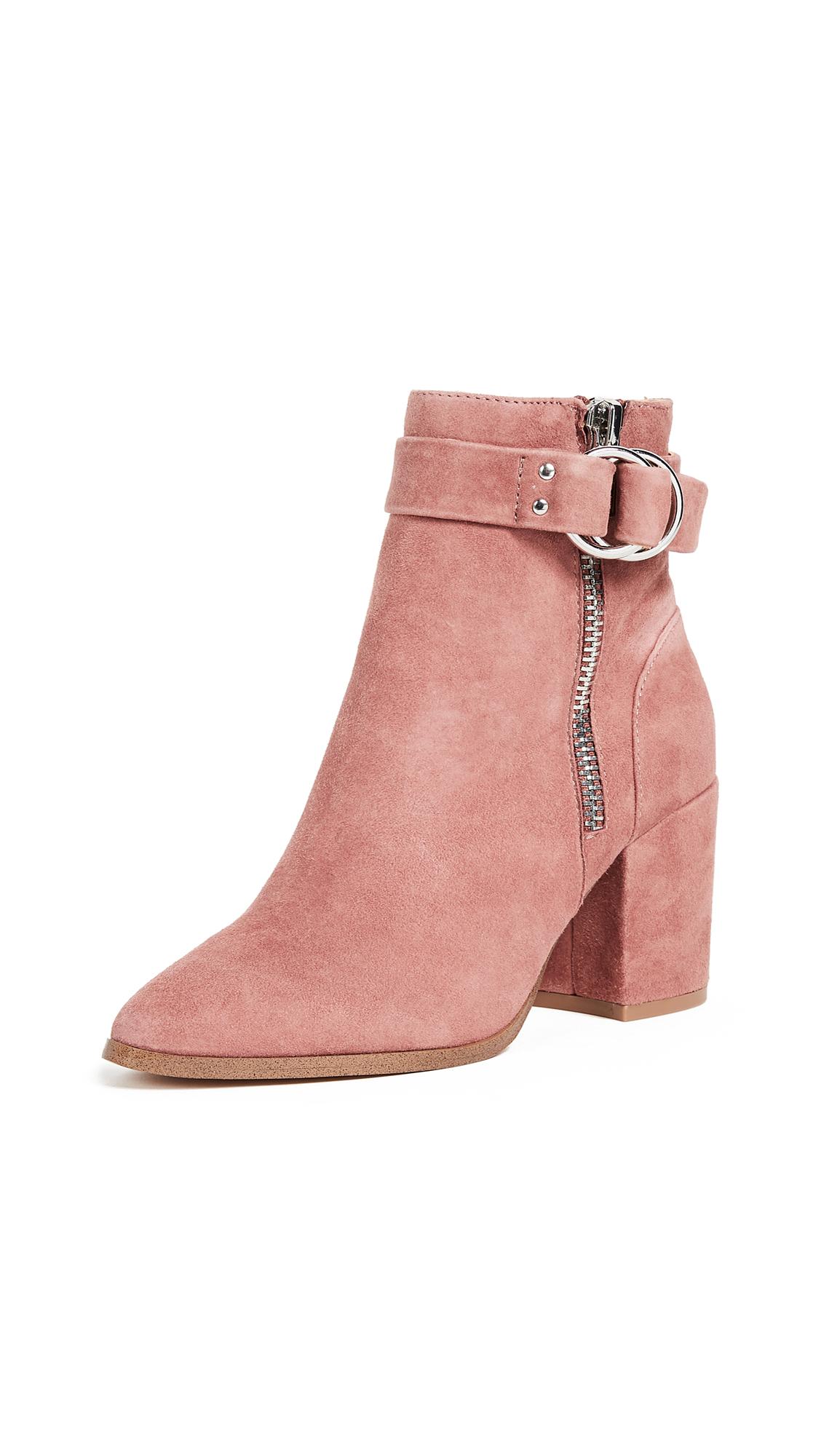 Steven Block Heel Ankle Boots - Pink