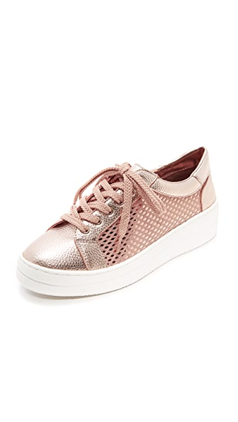 Steven Nyssa Lace Up Sneakers In Rose Gold