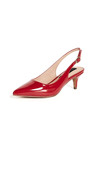 Steven Edyth Point Toe Slingback Pumps In Red