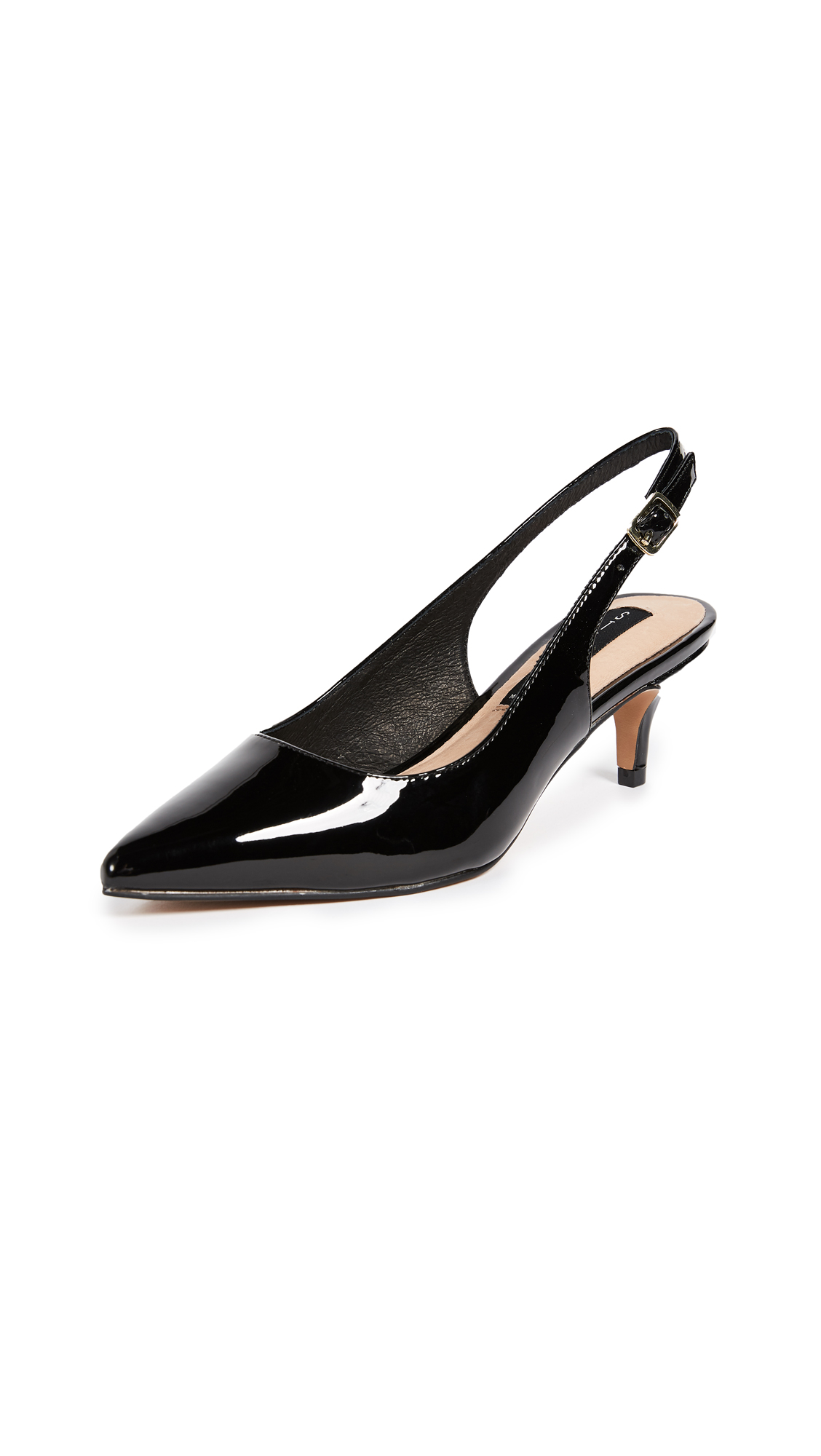Steven Edyth Point Toe Slingback Pumps - Black