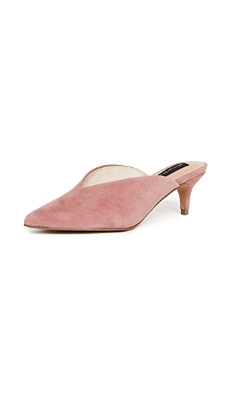 Steven Ainsley Point Toe Mules In Mauve