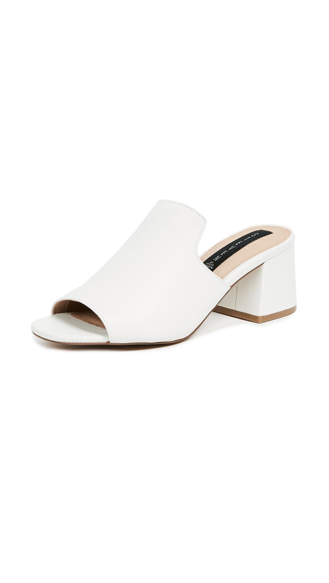 Steven Waze Block Heel Sandals - White
