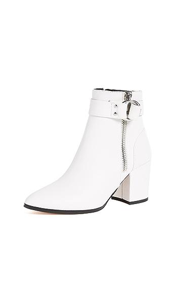 Steven Johanna Block Heel Ankle Boots In White