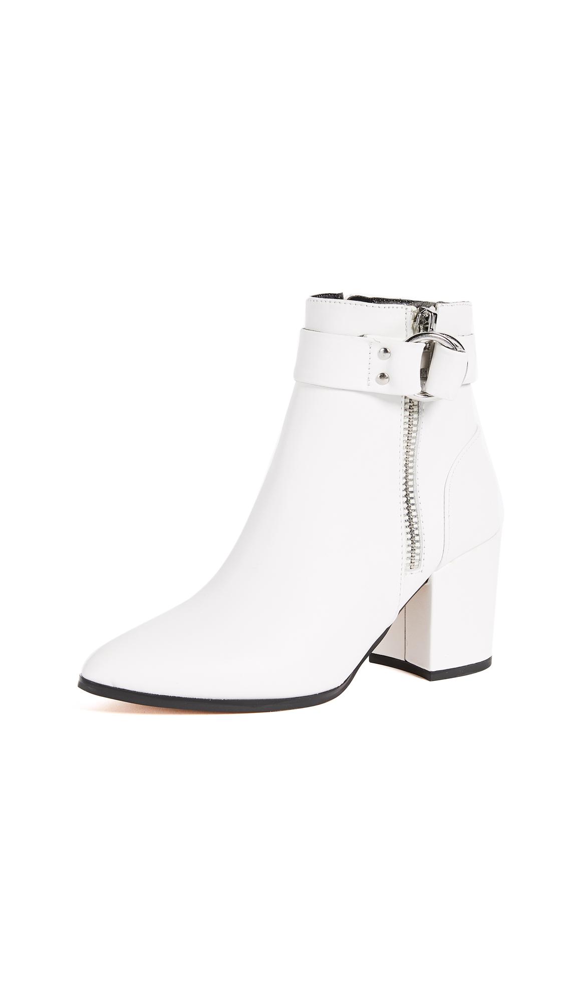 Steven Johanna Block Heel Ankle Boots - White