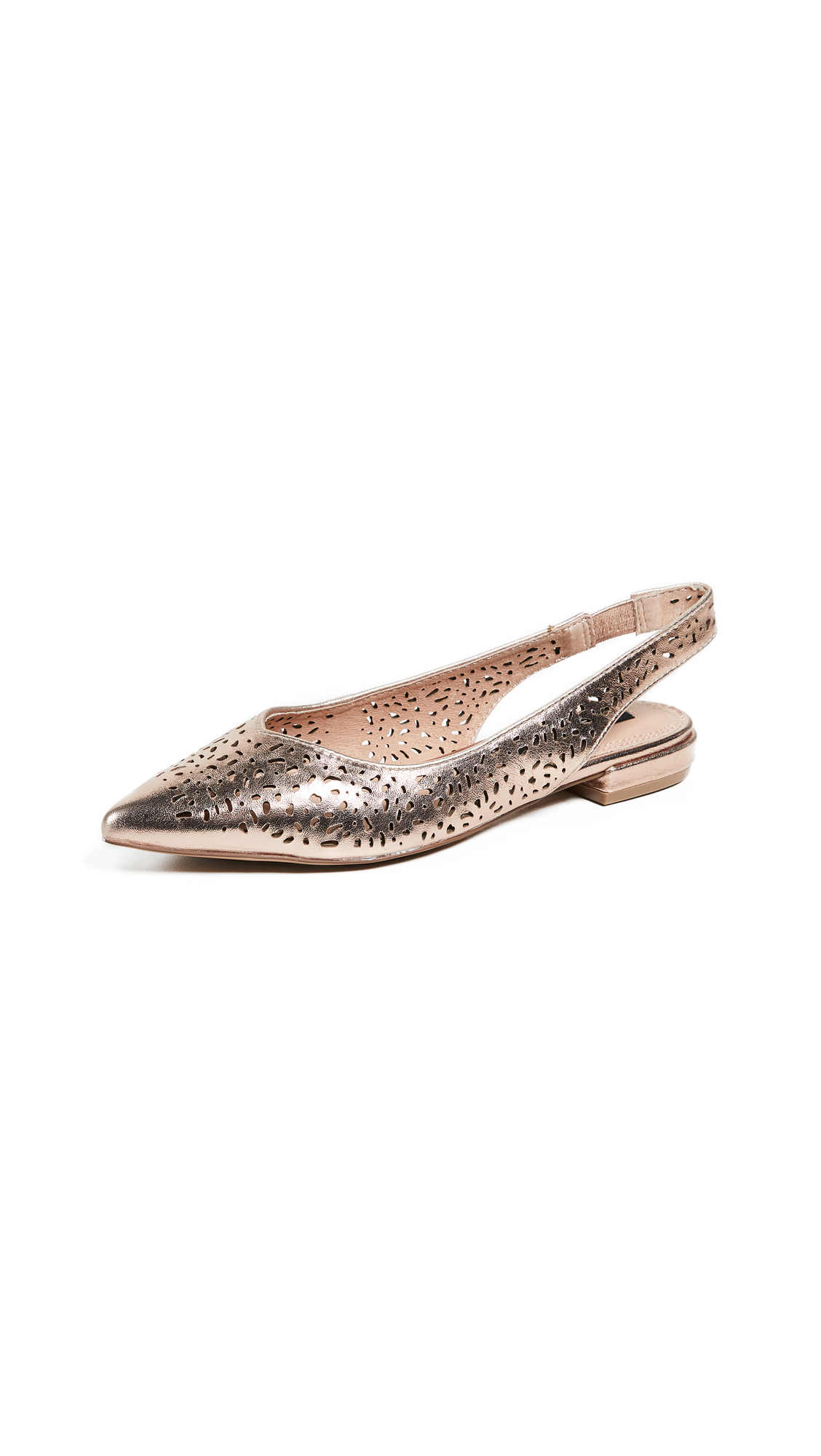 Steven Lourdes Point Toe Slingback Flats - Rose Gold