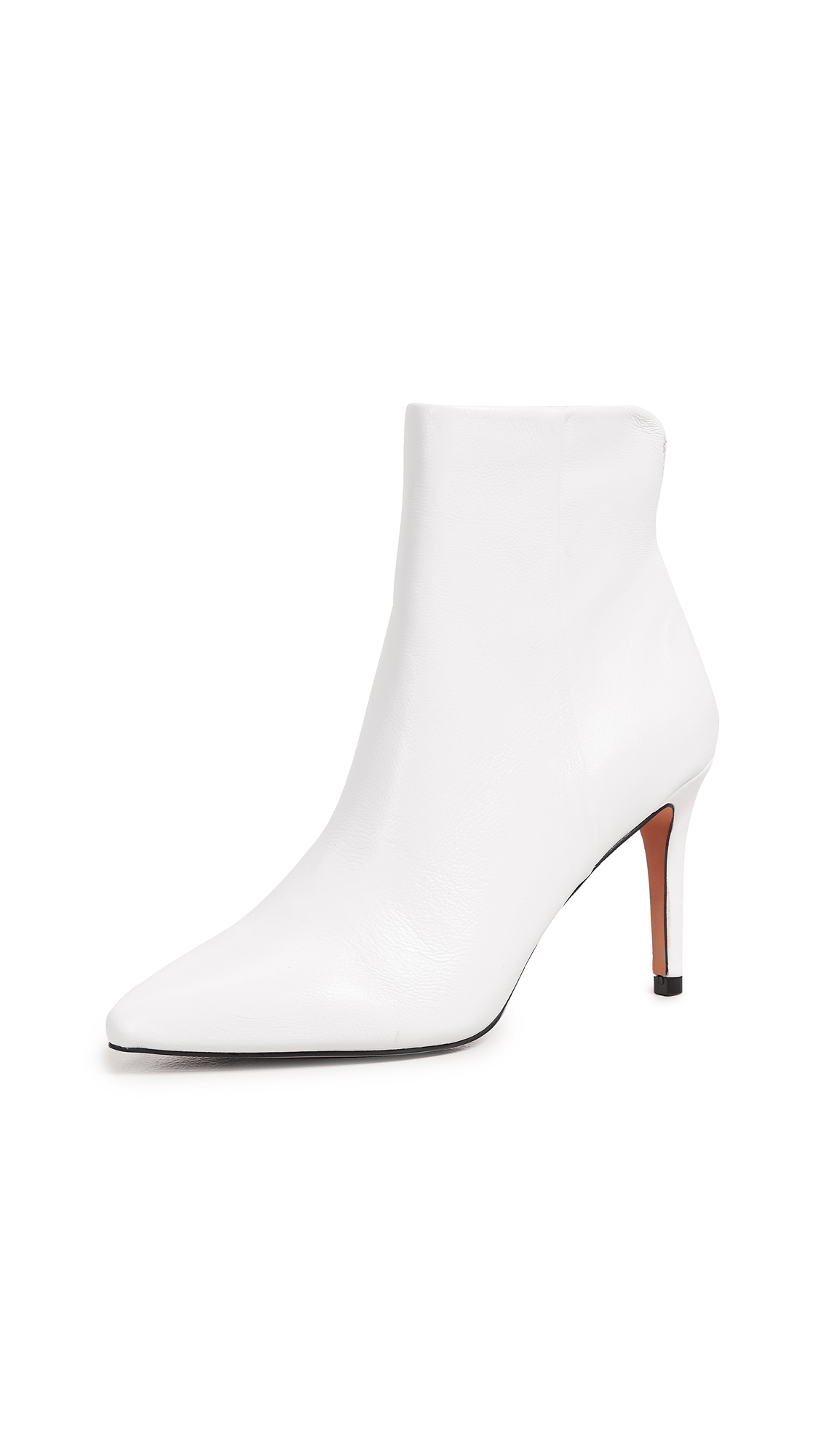 Steven Leila Pointed Toe Booties - White