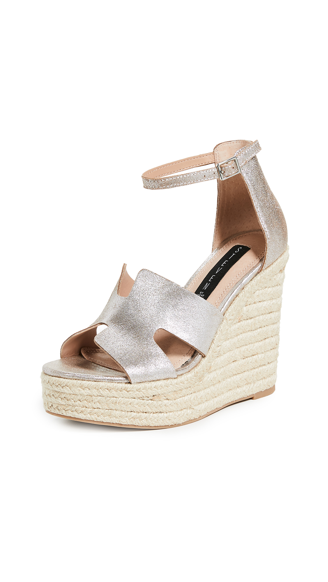 Steven Sirena Wedge Espadrilles - Rose Gold