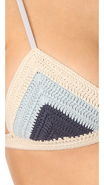 Suboo Denim Crochet Chevron Bikini
