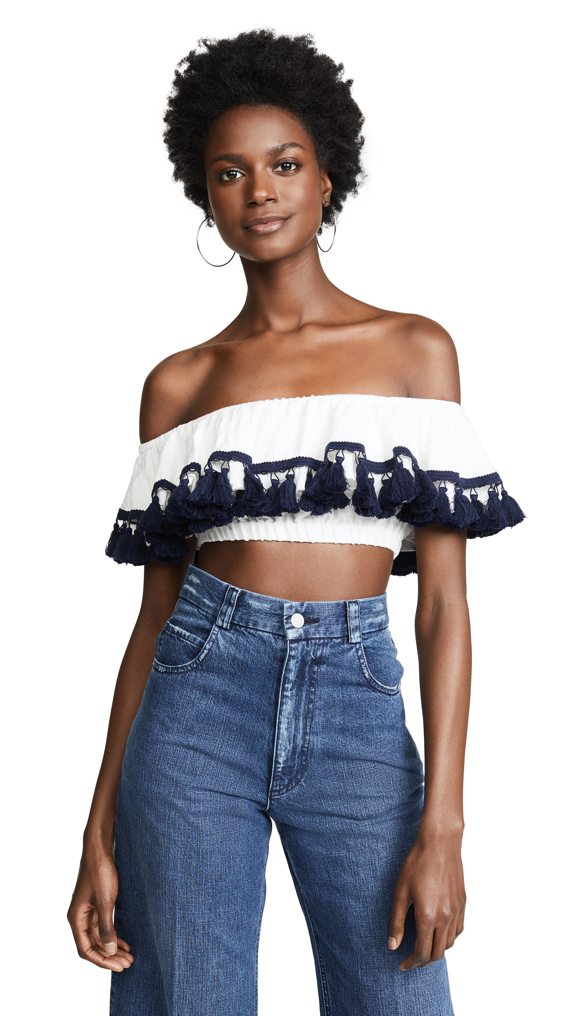 Suboo Playa Off Shoulder Frill Crop Top - White