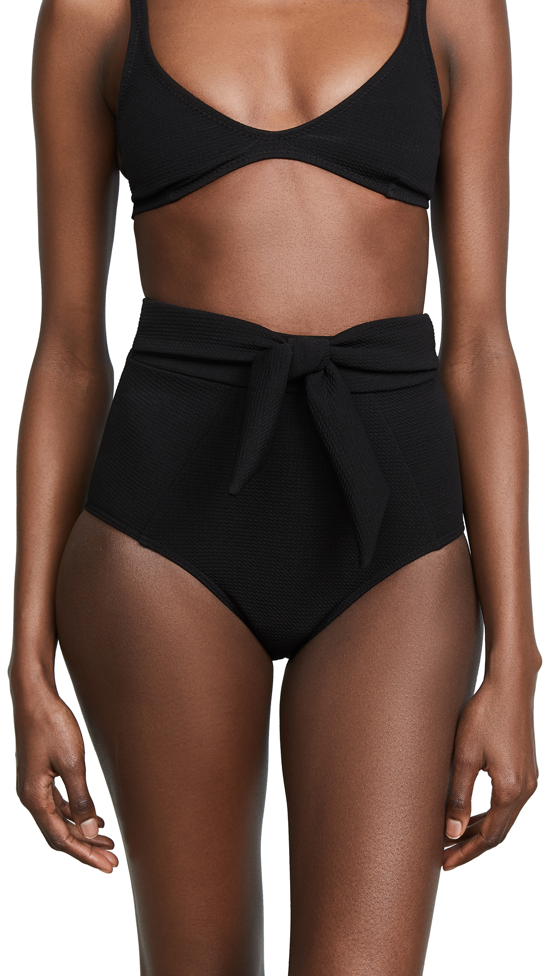 Suboo Textured Black High Waisted Bow Bottoms In Black