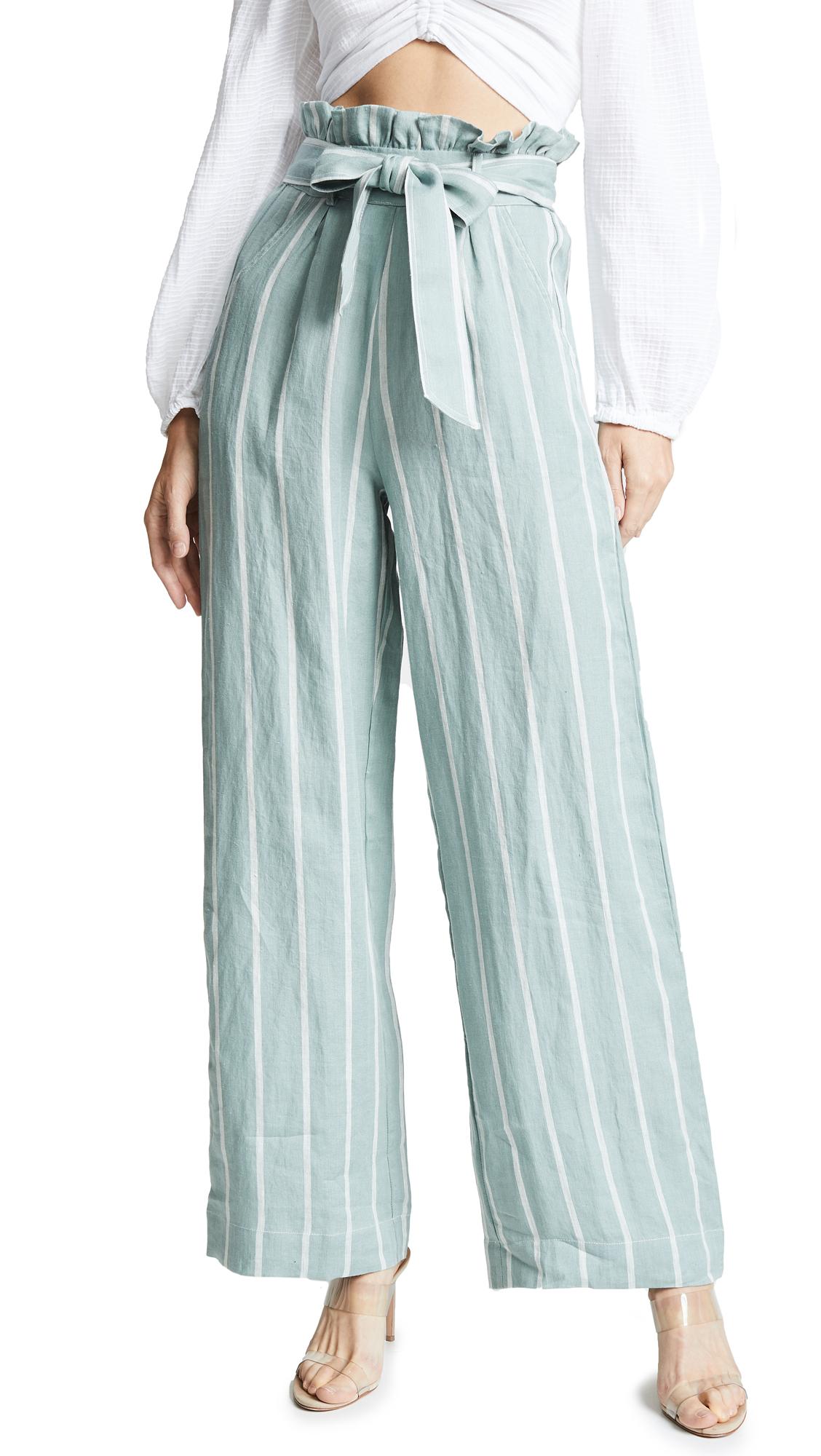 Suboo Horizon Wide Leg Pants In Green/White Stripe