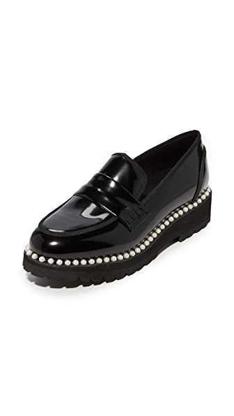Suecomma Bonnie Faux Pearl Detailed Loafers - Black