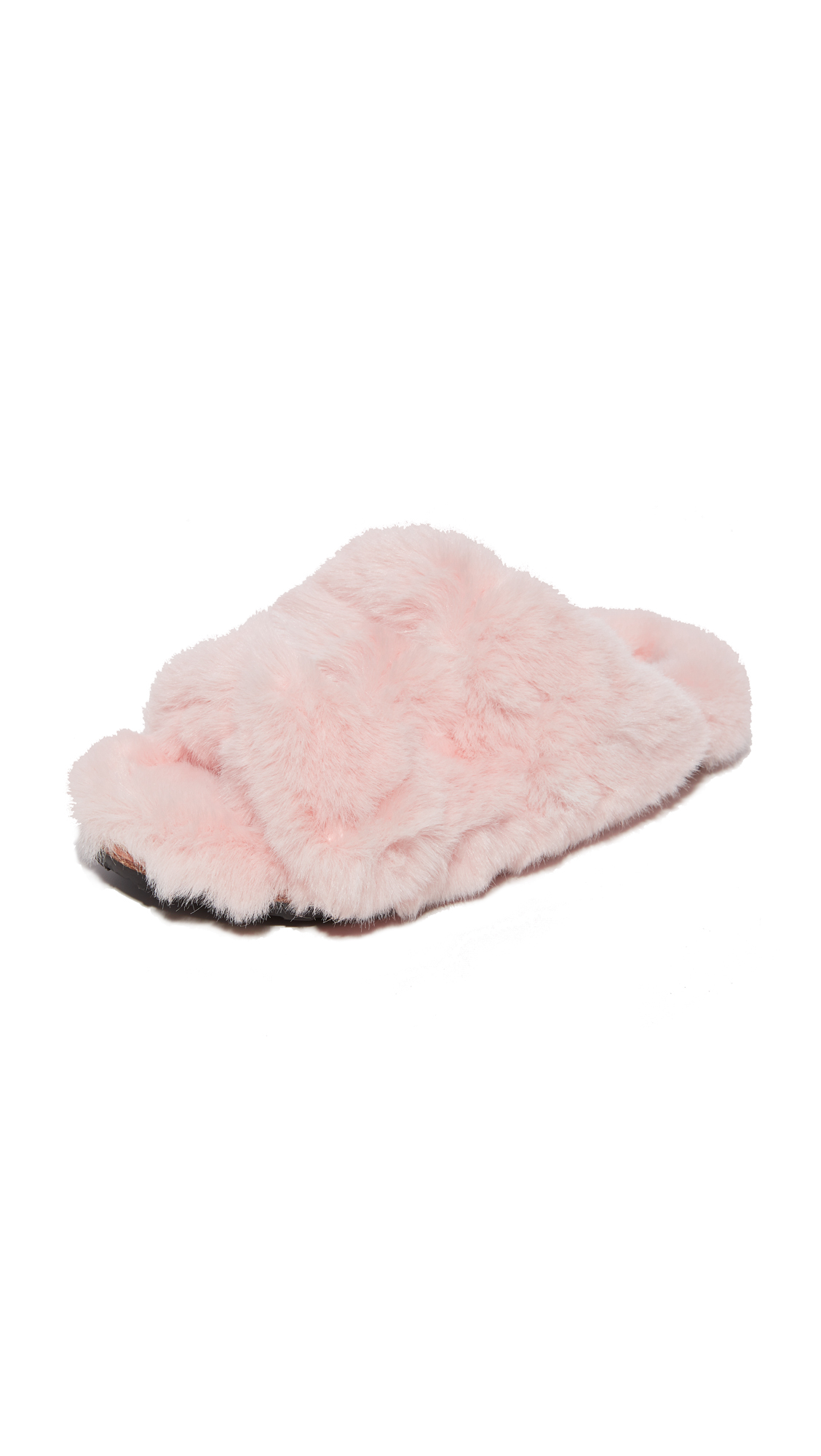 Suecomma Bonnie Faux Fur Detailed Flat Slides - Pink