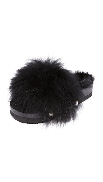Suecomma Bonnie Faux Fur Detailed Platform Slides - Black