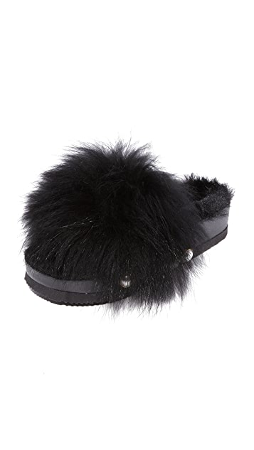 Suecomma Bonnie Faux Fur Detailed Platform Slides