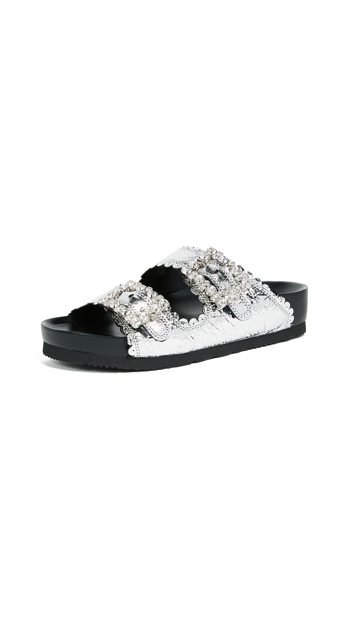 Suecomma Bonnie Embellished Buckle Flat Sandals - Silver