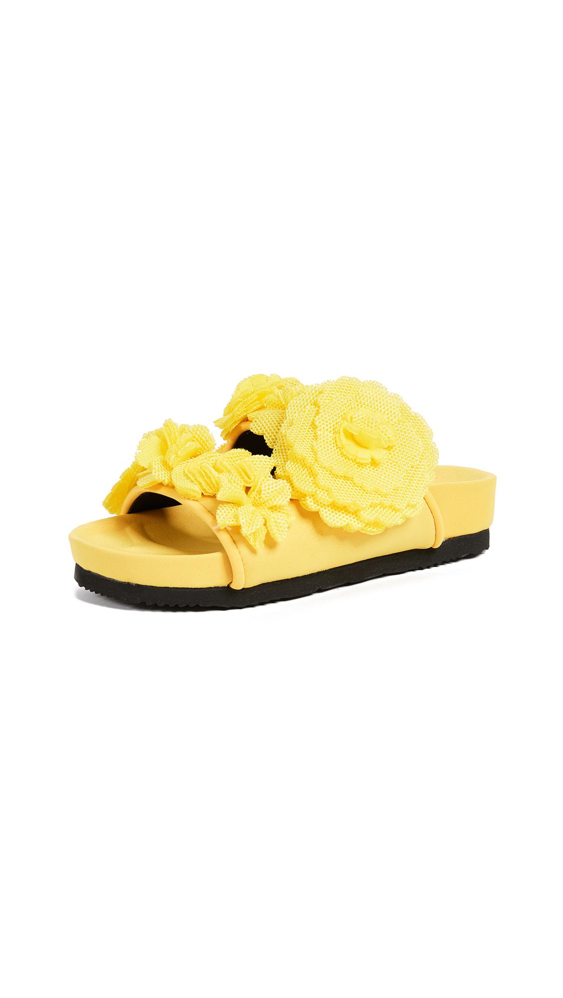 Suecomma Bonnie Flower Embellished Mesh Slides - Yellow