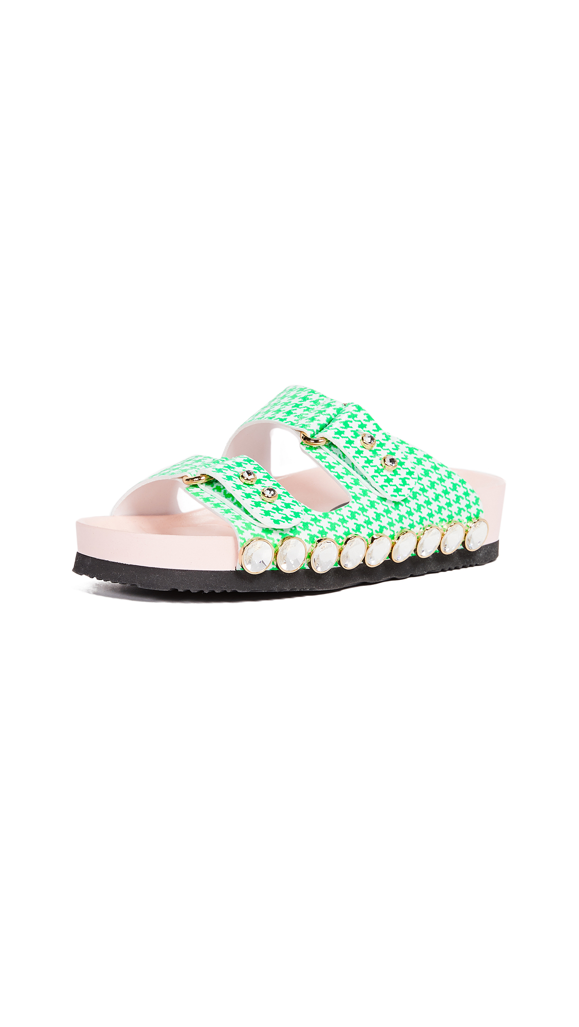 Suecomma Bonnie Imitation Pearl Detailed Slides In Green