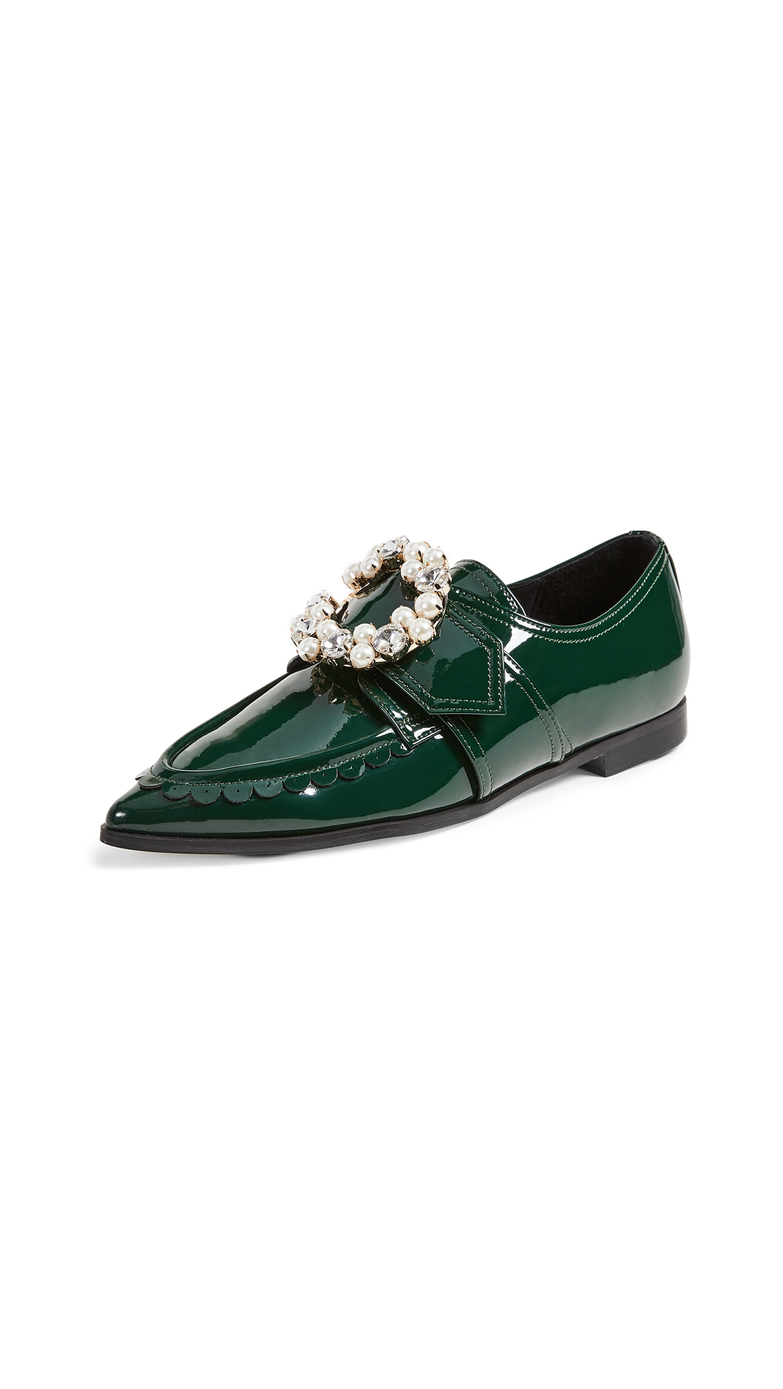Suecomma Bonnie Jewel Detailed Pointy Loafers In Green