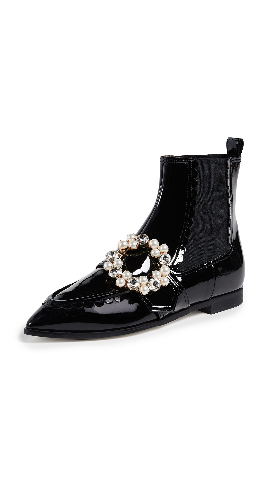 Suecomma Bonnie Jewel Pointy Ankle Booties - Black