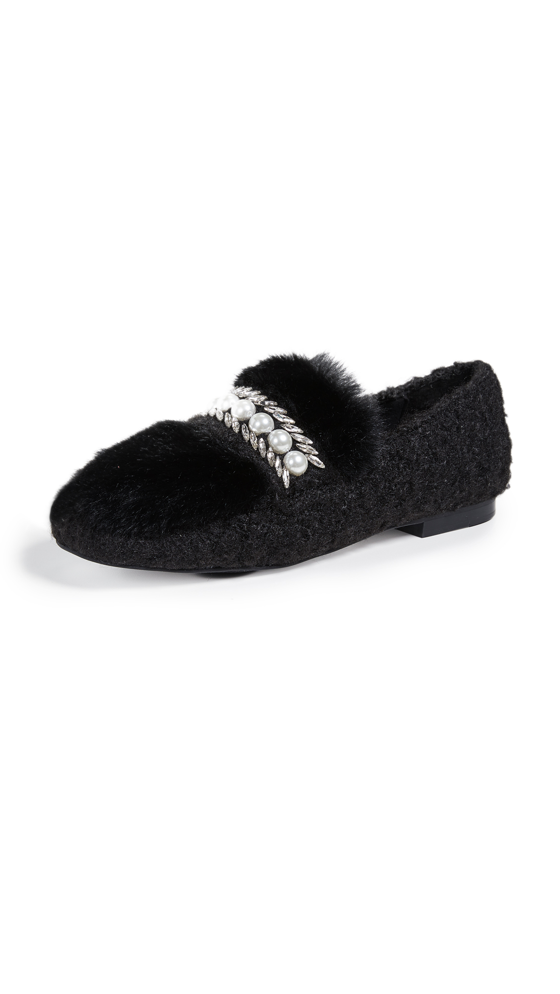 Suecomma Bonnie Embellished Faux Fur Loafers - Black/Black
