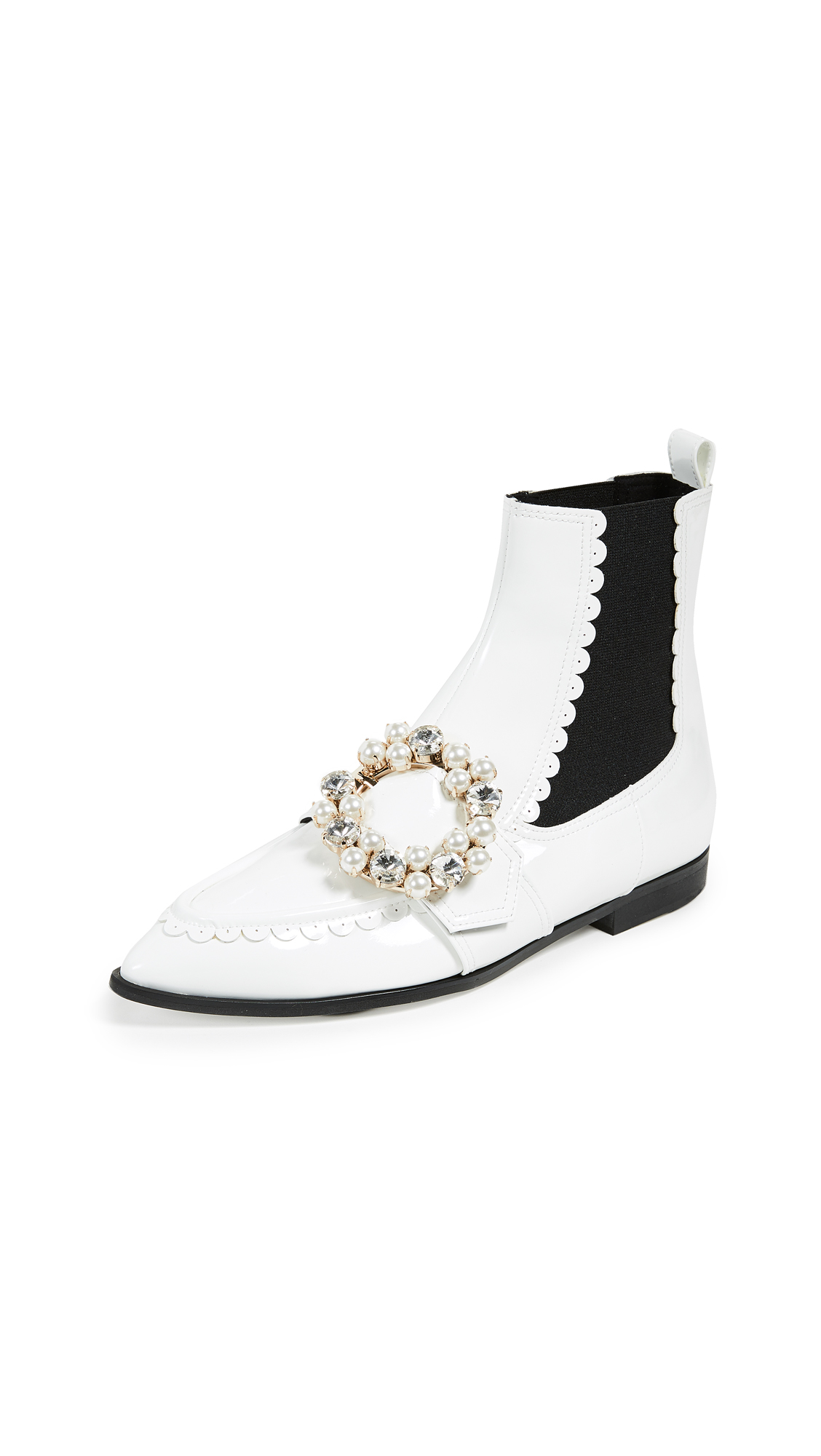 Suecomma Bonnie Jewel Detailed Pointy Toe Ankle Booties - White/White