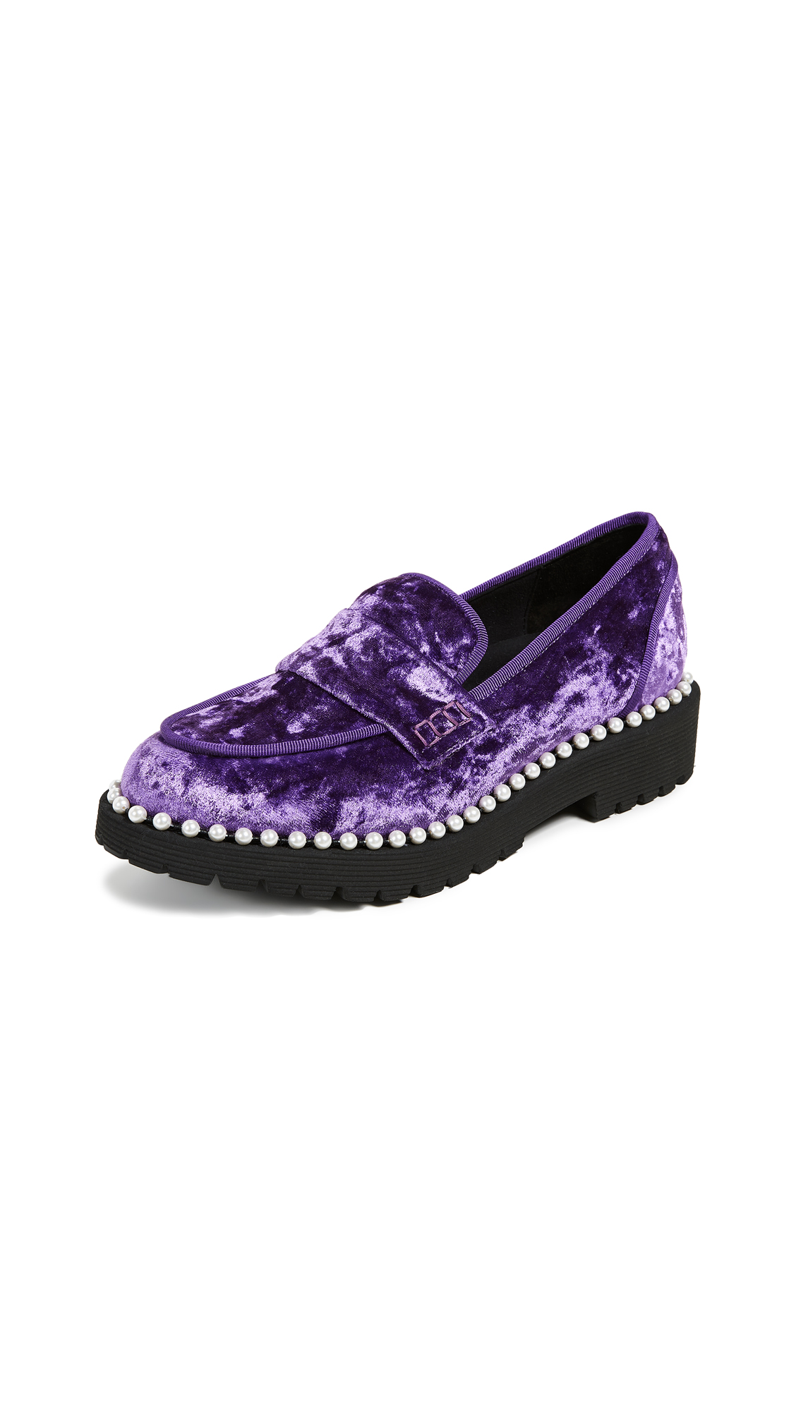 Suecomma Bonnie Velvet Loafers with Imitation Pearls