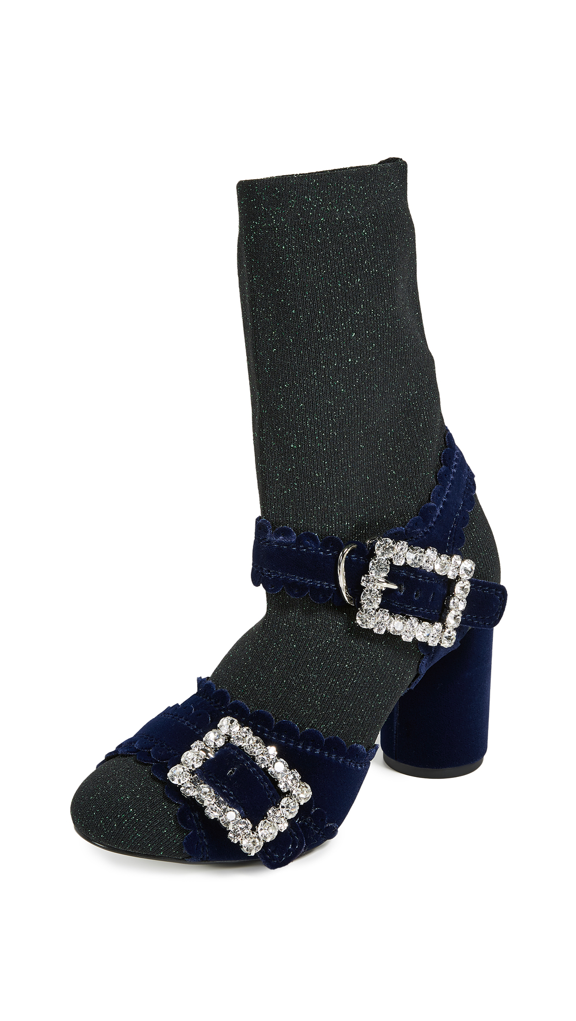 Suecomma Bonnie Glitter Sock Sandals - Green