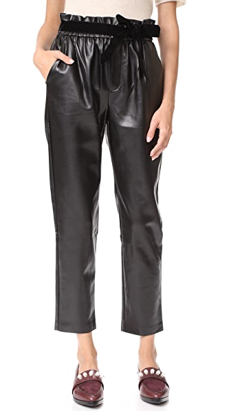 Suncoo Jil Faux Leather Joggers - Noir