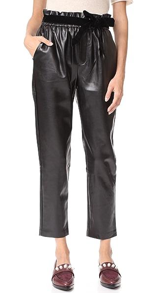 Suncoo Jil Faux Leather Joggers - Noir