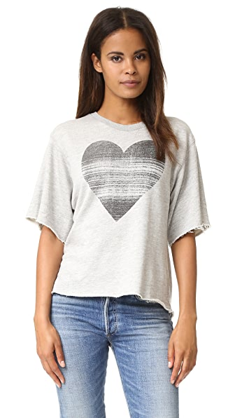 SUNDRY Static Heart Raw Edge Tee