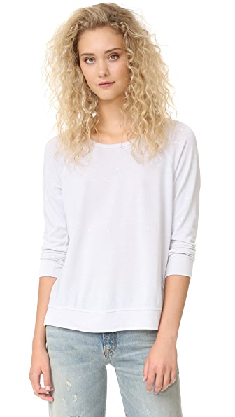 SUNDRY Distressed Raglan Sweatshirt with Paint Splashes