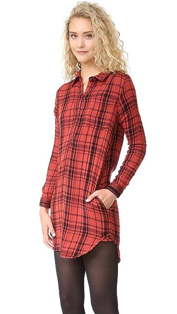SUNDRY Plaid Henley Shirtdress