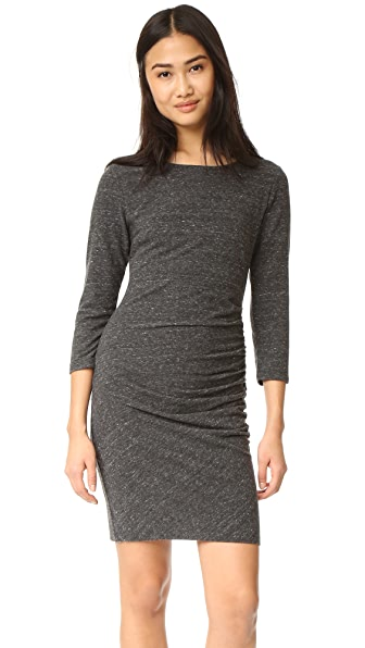 SUNDRY Ruched Dress - Heather Charcoal