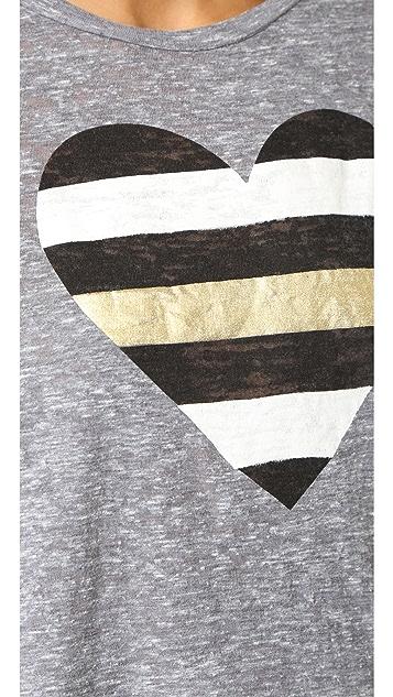 SUNDRY Stripe Heart Loose Tee