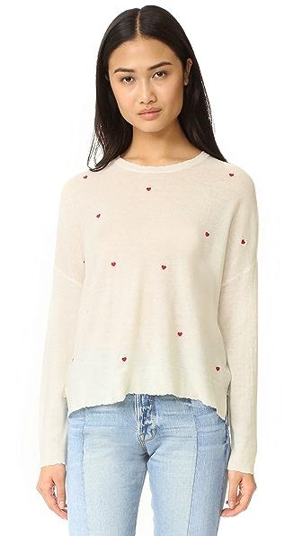 SUNDRY Little Hearts Crew Neck Sweater - Ivory