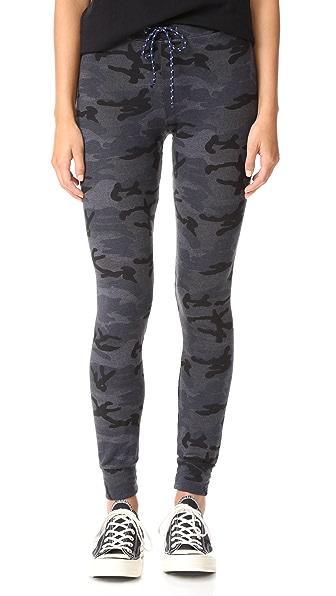 SUNDRY Skinny Camo Sweatpants - Soft Black