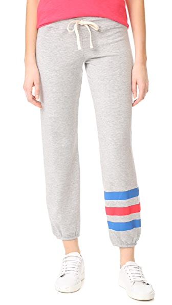 SUNDRY Heart Stripes Sweatpants - Heather Grey
