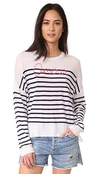 SUNDRY Amour Sweater - White/Navy Stripe