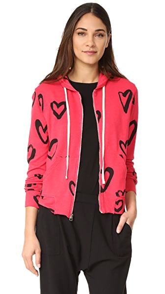 SUNDRY Hearts All Over Zip Hoodie